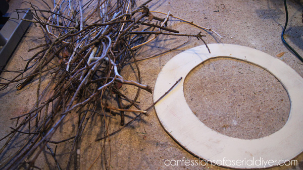 Winter Twig Wreath (Made from Twigs from the back yard!)