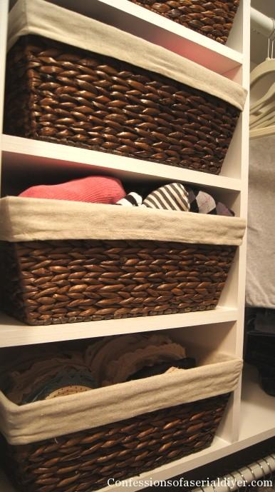 Baskets in closet