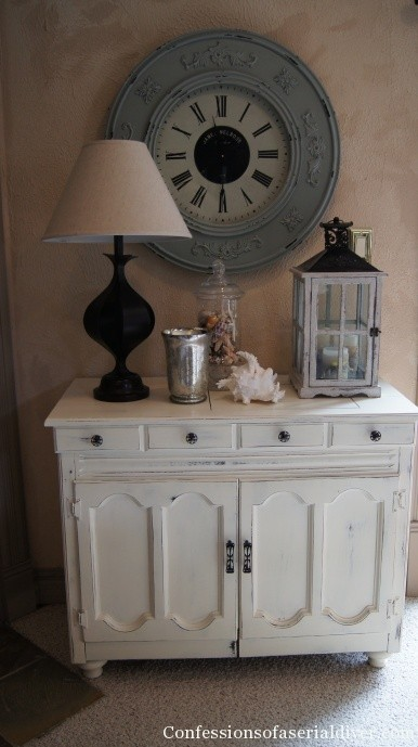 cream painted sewing cabinet