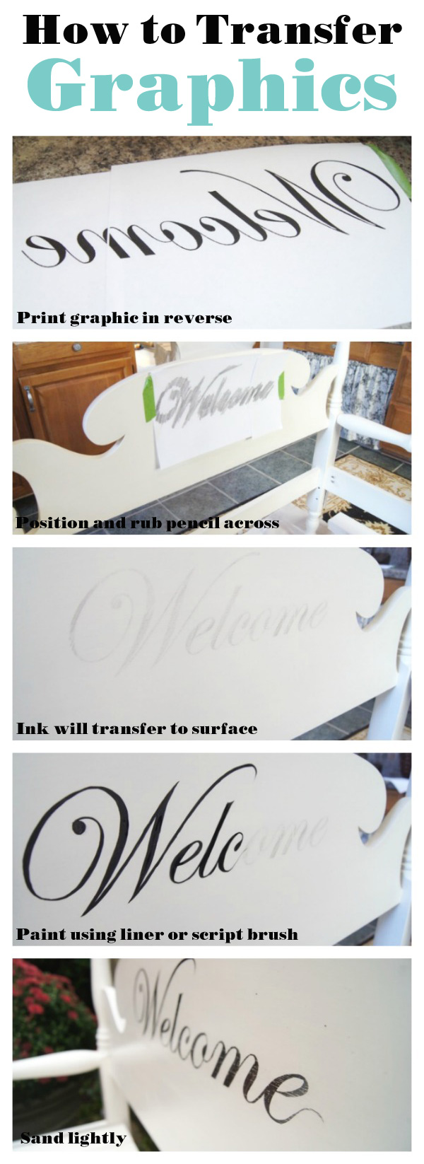 Easy way to transfer letters or graphics to a project