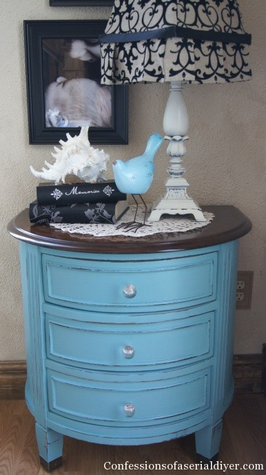 Table in Annie Sloan Provence blue
