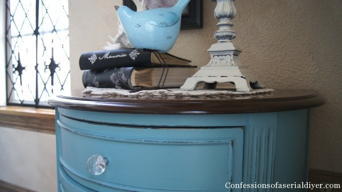 Annie Sloan Provence blue chalk paint table