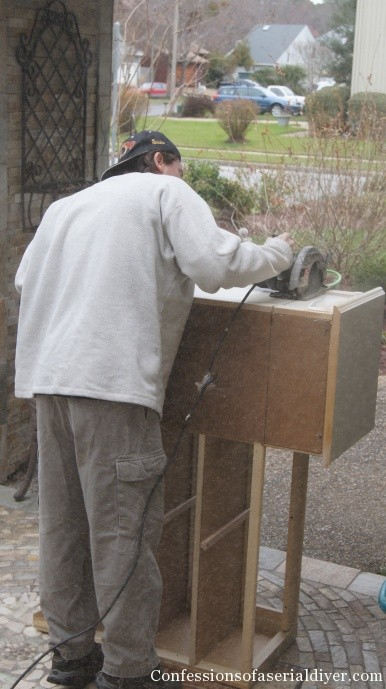 Sawing the changing table
