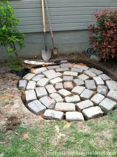 Creating a circular stone patio