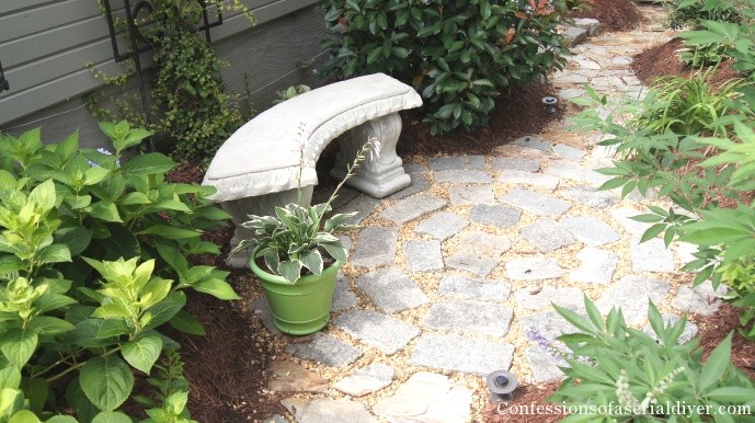 Circular patio from granite blocks