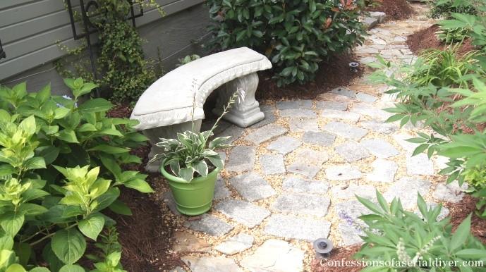 Circular patio from granite blocks