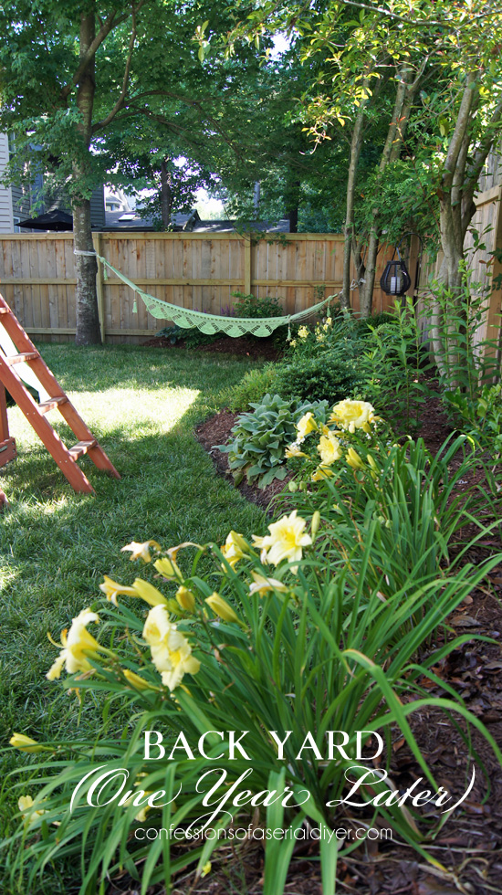 A completely overhauled small back yard, one year later.