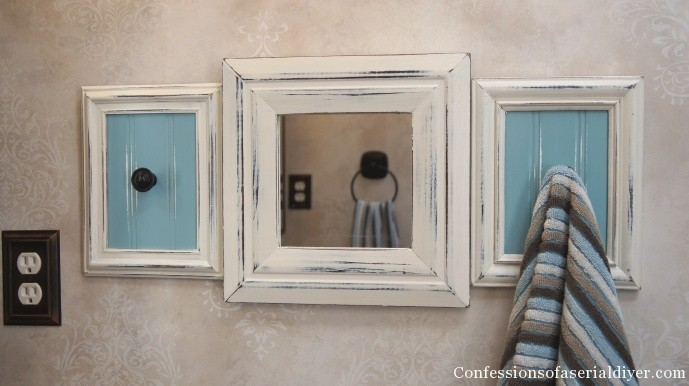 Towel rack from picture frames