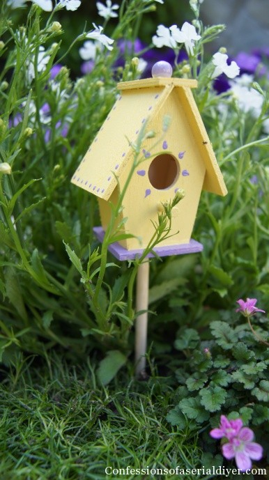 Birdhouse in fairy garden