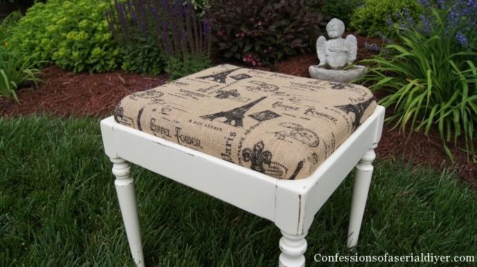 Homemade chalk painted stool