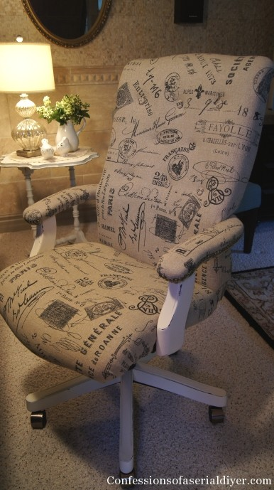 Reupholstered desk chair
