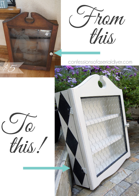 A little paint in a fun pattern and some chicken wire update this thrift store charmer perfectly!