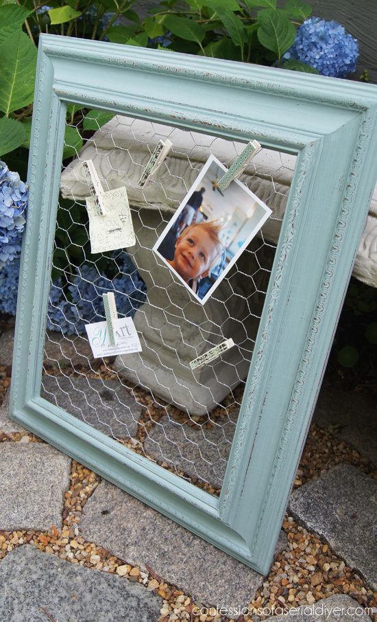 Chicken Wire Message and Photo Board
