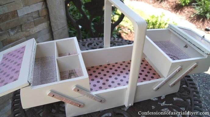 Pretty sewing box makeover