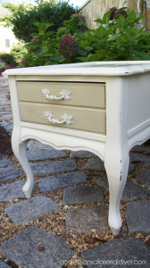 Country Grey Painted Harlequin Side Table