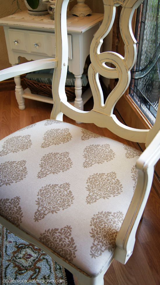 Draperies from HomeGoods are perfect for covering dining room chairs!