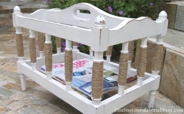 Coastal cottage magazine rack makeover with sisal