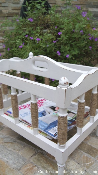 magazine rack makeover with chalk paint and sisal twine