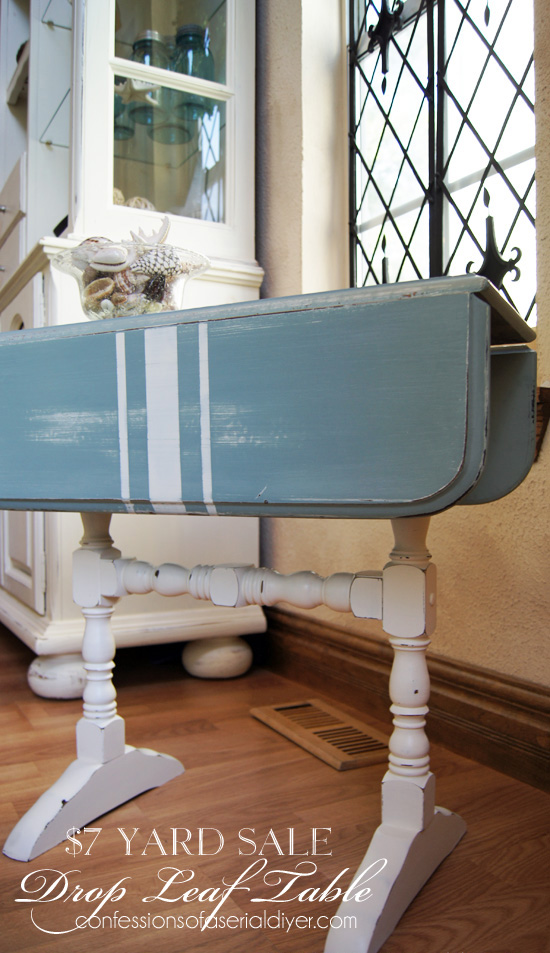 Duck Egg Blue and Cottage White Painted Grain Sack Table