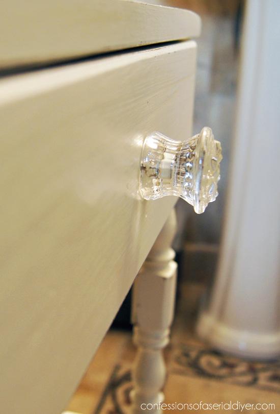 Pretty glass knob always adds charm.