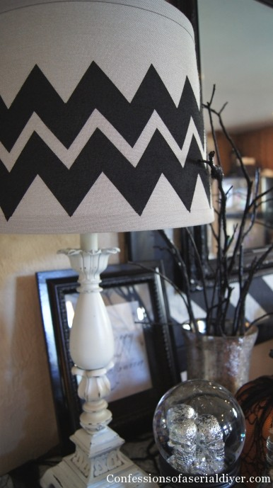 Chevron painted lamp shade