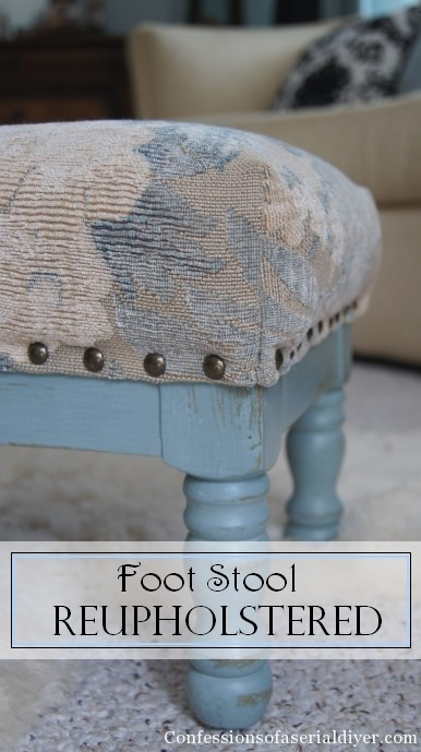 Reupholstered Foot Stool Confessions Of A Serial Do It