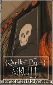 Quilled Paper Skull & Halloween Mantel