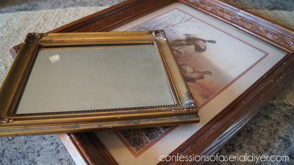 Burlap Framed Mirror Before