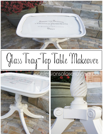 Glass Tray-Top Table Makeover with French Graphics
