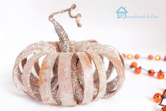 Glittered ribbon spool pumpkin