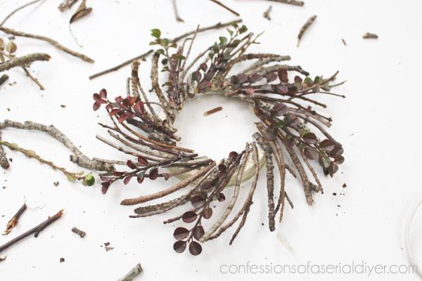 Monogrammed Mini Twig Wreath Ornament