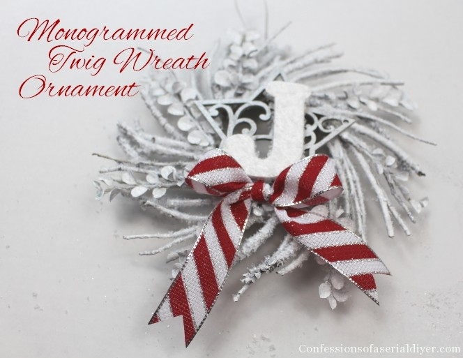 Monogrammed Mini-Twig Wreath Ornament