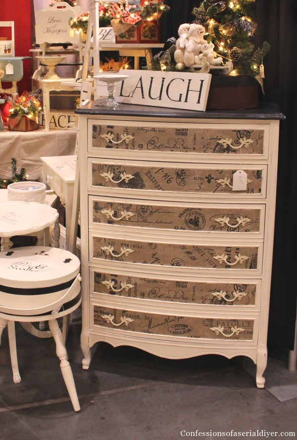 Burlap Fabric Inlay Dresser