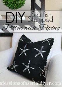 DIY Starfish Stamped Pillows with Piping