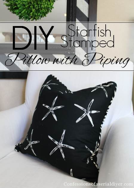 How to make a pilow with piping and a fun DIY fabric idea!