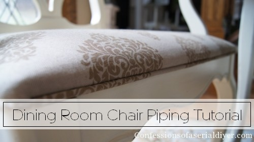 How to add piping to dining room chairs, SEW and NO SEW methods!