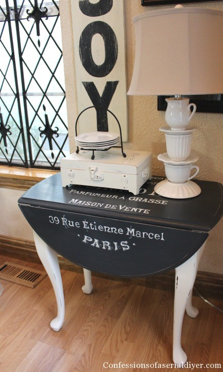Drop- leaf table with graphics