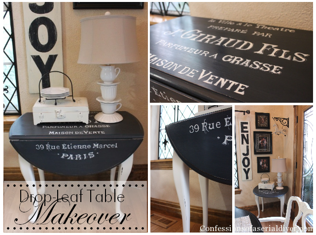 Drop-leaf table makeover. Adding graphics really gives it personality!