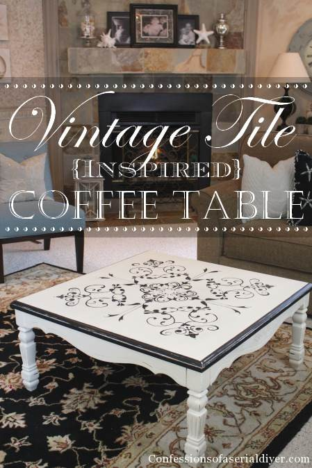Table with Vintage Tile-Inspired Design
