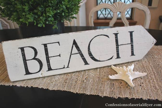 Beach sign from old fencing