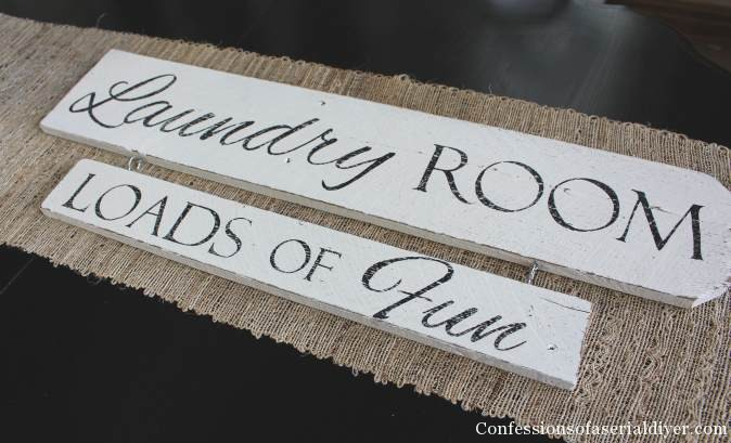Laundry Room sign from an old fence picket