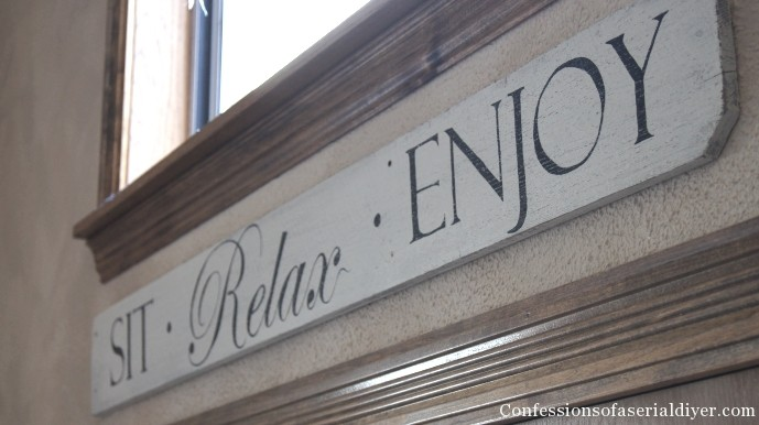 """Sit Relax Enjoy"" sign from an old fence picket"