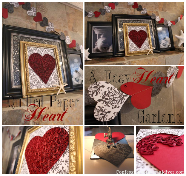 Simple and Inexpensive Valentine's DIY Decor: Quilled Paper Heart and Easy Heart Garland