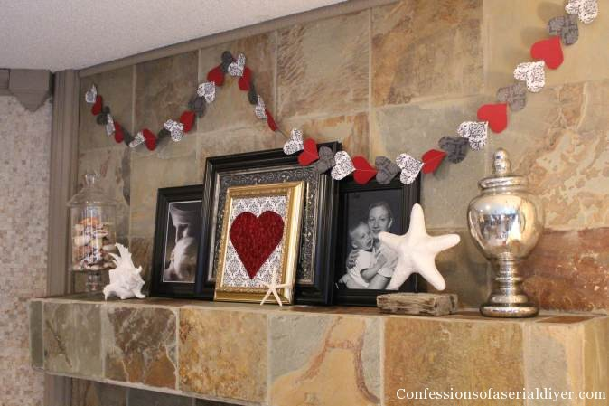 Valentine's Mantel with quilled paper heart and easy sew garland.