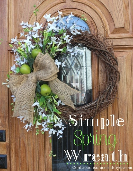 spring front door wreathsSimple Spring Wreath  Confessions of a Serial DoitYourselfer