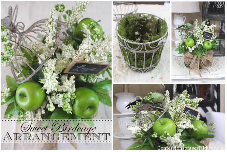 Sweet Arrangement using a Birdcage as a Planter!