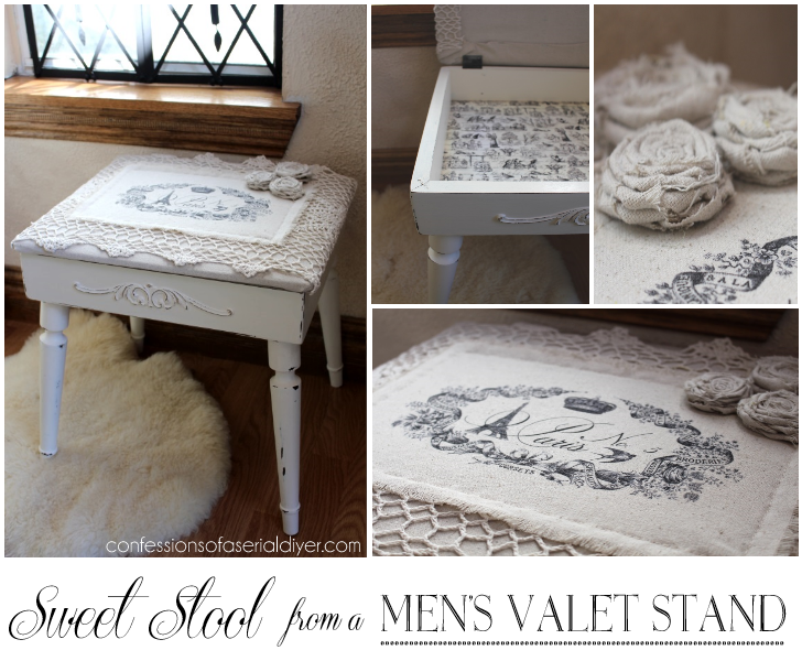 A men's dated valet stand becomes a pretty stool for her!