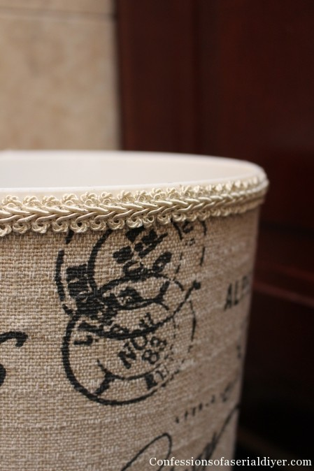 Monogrammed Fabric Covered Garbage Can {a Ballard Knock Off}