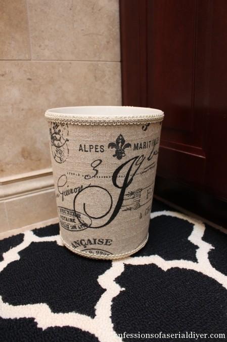 Monogrammed Fabric Wastebasket (a Ballard Designs Knock Off}