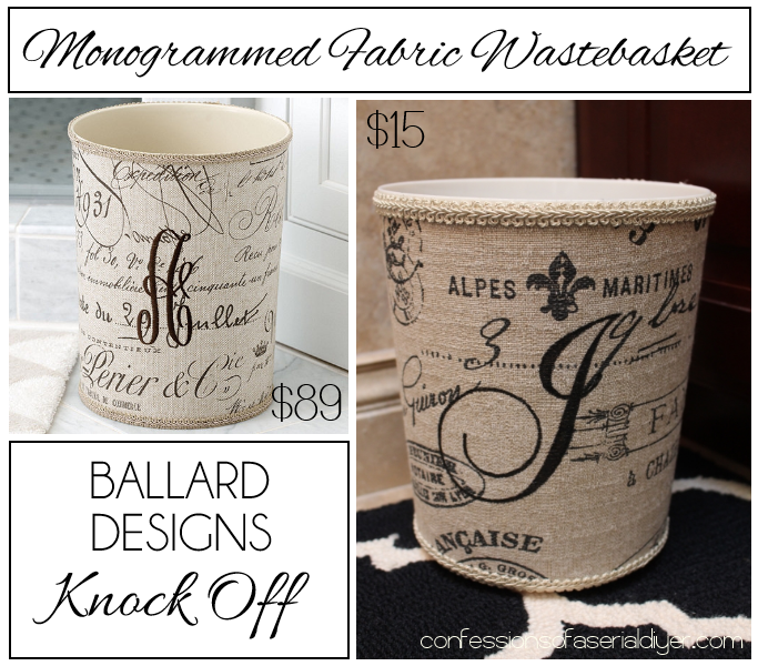 Monogrammed Fabric Wastebasket {a Ballard Designs Knock off}